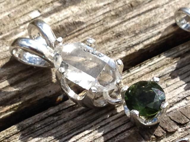 Herkimer diamond genuine moldavite gem sterling silver pendant moldavite gem herkimer diamond pendant aloadofball Gallery