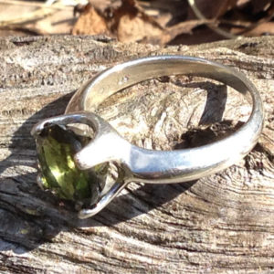 moldavite gem silver ring 1