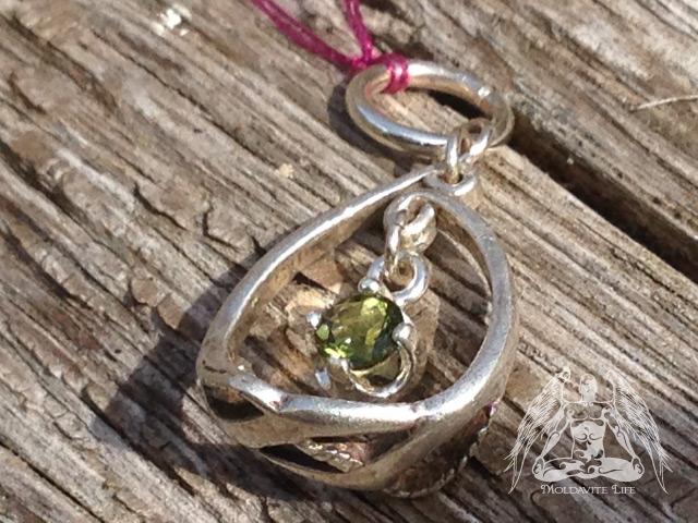 moldavite curl silver pendant