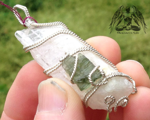 silver moldavite danburite pendant