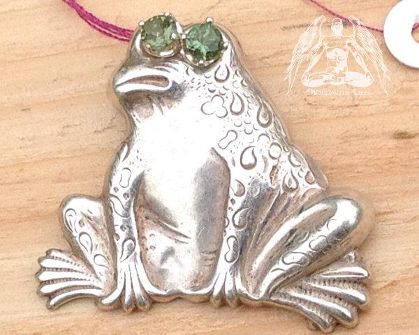 moldavite frog pendant