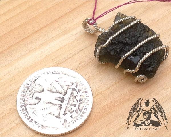 silver wire moldavite pendant