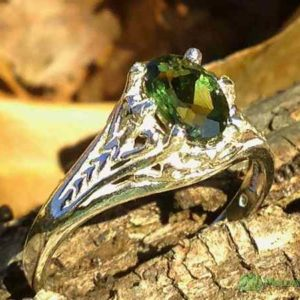 womens sterling silver moldavite ring