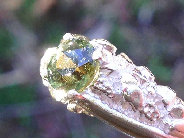 Men's Moldavite Ring [Size 10] Sterling Silver #R910