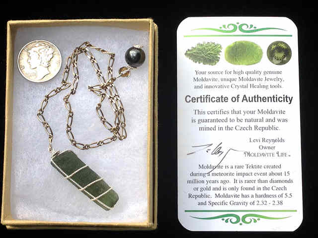 Moldavite Pendulum [ 925 Silver] #342 ET Guides Communication
