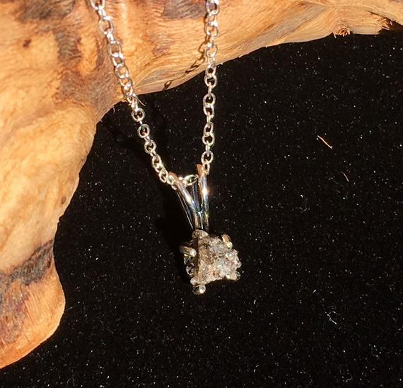 DARWIN Glass Tektite Sterling Silver Pendant Necklace 6mm #764